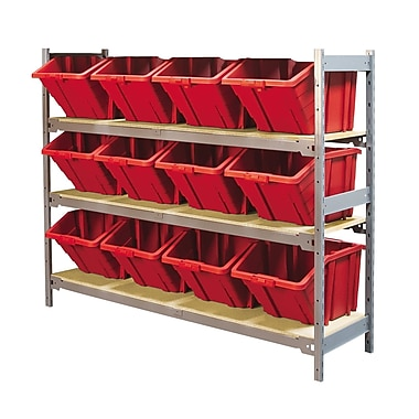 Kleton Wide Span 3 Shelf Shelving with Plastic Bins, Red