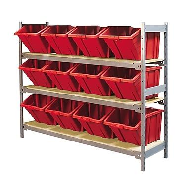 KLETON – Large étagère à 3 tablettes avec bacs en plastique, rouge