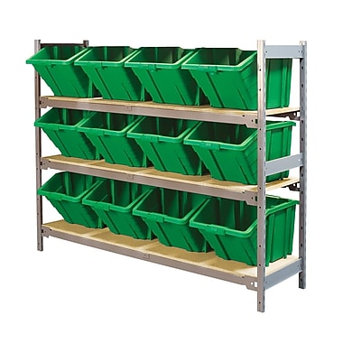 Kleton Wide Span 3 Shelf Shelving with Plastic Bins, Green