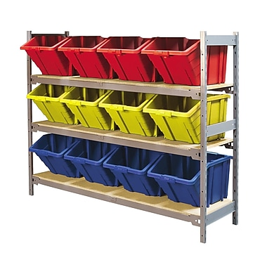 Kleton Wide Span 3 Shelf Shelving with Plastic Bins, Assorted