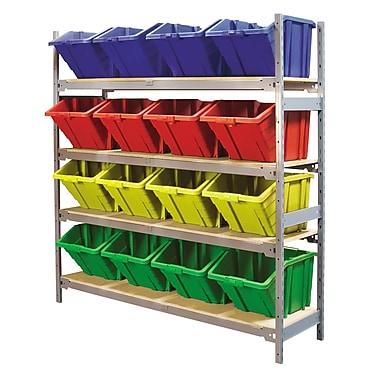 KLETON – Large étagère à 4 tablettes avec bacs en plastique, rouge