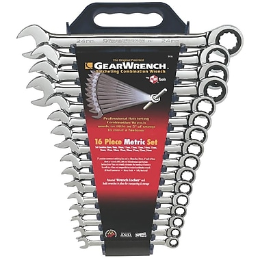 GearWrench® Metric Combination Ratcheting Wrench Set, 16-Piece
