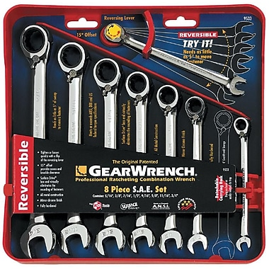 GearWrench® SAE Reversible Combination Ratcheting Wrench Set, 8-Piece