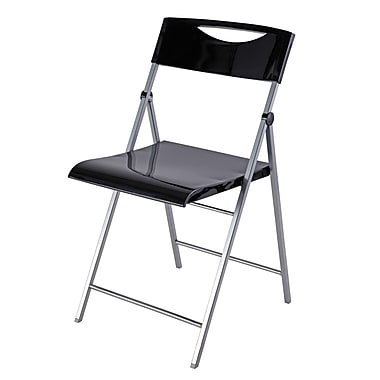 : Alba Smiling Folding Chair, Silver Grey and Glossy Black, 2/Pack