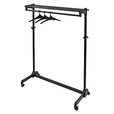 Alba 1-Sided Mobile Garment Rack with Single Shelf, Includes 3 Hangers, Black