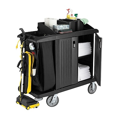 Rubbermaid 619200BLA Compact Housekeeping Cart with Doors, Vinyl Bag, Bumpers and Vacuum Holder