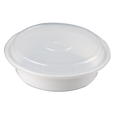 Versatainer Round Containers, 24 oz., 680 Grams, White, 150/Case
