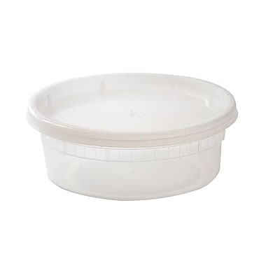 Oriented Polystyrene Deli Round Containers, 8 oz., Clear, 240/Case