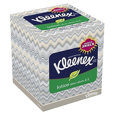 Kleenex Upright Facial Tissue with Lotion, 3-Ply, White, 75 Sheets/Box, 27 Boxes/Case