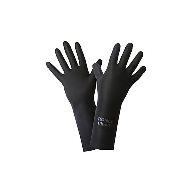 Ronco Ultra-Fit Latex Gloves, XL, Size 10, 28 Mil, Black, 12 Pair/Pack, 144 Pair/Case