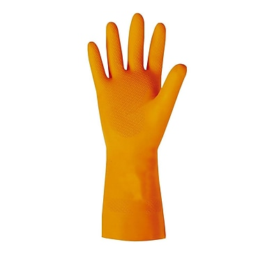 Diamond Embossed Flock-Lined Natural Latex Gloves, Heavy Weight, Size 9, 29 Mil, Orange, 12/Pack, 144/Case