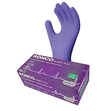 Ronco Blurite Plus Nitrile Powder-Free Exam Glove, Large, Dark Blue, 100/Box, 1000/Case