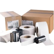 "Thermal Perforated Transfer Labels with Permanent Adhesive, 3"" Core, White, 1000/Roll, 8 Rolls/Case"