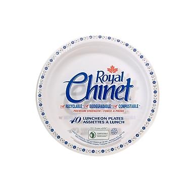 CKF – Assiettes pour revente Royal Chinet en pâte de fibres naturelles, motif fleurs et feuilles, 40 par paquet, 18 par boîte