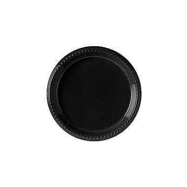Solo – Assiettes en plastique, 10 1/4 po, noir, 25/paquet, 500/boîte