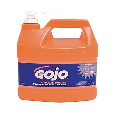 Gojo Natural Hand Cleaner with Pumice Pump Dispenser, 1 Gallon, Citrus Orange, 4/Case