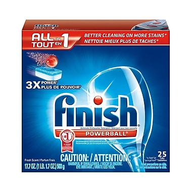 Finish All-in-1 Powerball Dishwasher Detergent Tab, Fresh, 25 Tabs/Box, 8 Boxes/Case