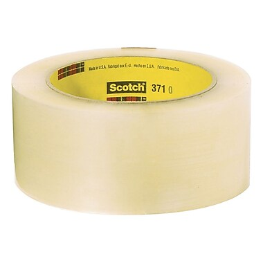 3M 371 Scotch Hot Melt Box Sealing Tape, 48 mm x 914 m, 1.9 Mil, Clear, 6/Case