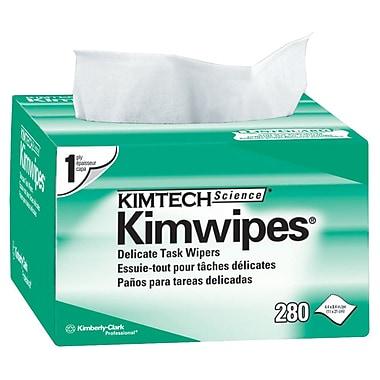 Kimwipes – Essuie-tout pour tâche délicate, 4 1/2 x 8 1/2 po, 1 épaisseur, blanc, paq./280, bte/30 paq., très grand