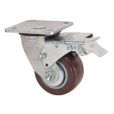 Kleton Polyurethane Heavy-Duty Casters with Swivel and Brake, 4