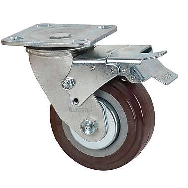 Klenton Polyurethane Casters with Swivel and Brake, 2/Pack