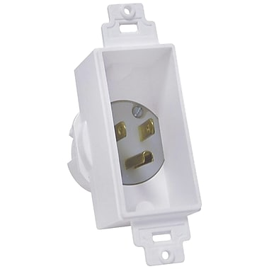 Midlite Single Gang Decor Recessed Power Inlet, White (MDT4642W)