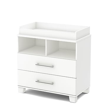 South Shore – Table à langer avec pourtour amovible, collection Cuddly, blanc pur, 36,75 haut. x 35,5 larg. x 19,5 prof. (po)