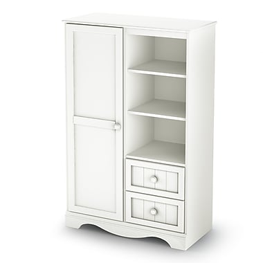 South ShoreMD – Armoire de la collection Savannah, blanc pur, 53 haut. x 35 larg. x 16 prof. (po)