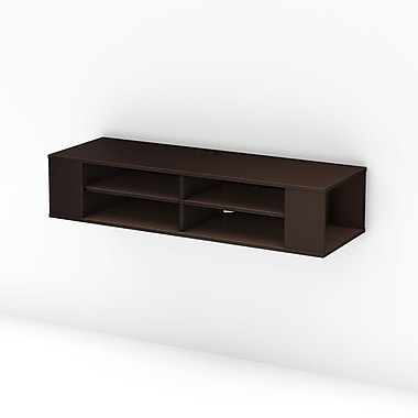 South Shore™ City Life Laminated Particleboard Wall Mounted Media Console, Black Oak