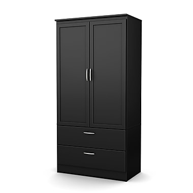 South Shore™ Acapella Laminated Particleboard/Metal Wardrobe Armoire, Pure Black