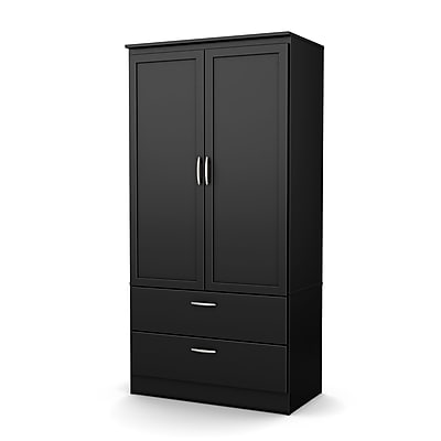 South Shore™ Acapella Laminated Particleboard/Metal Wardrobe Armoire, Pure Black