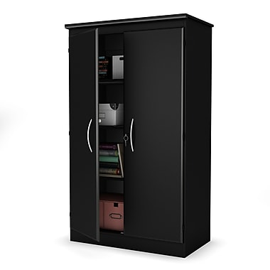 South Shore Storage Armoire, Solid Black