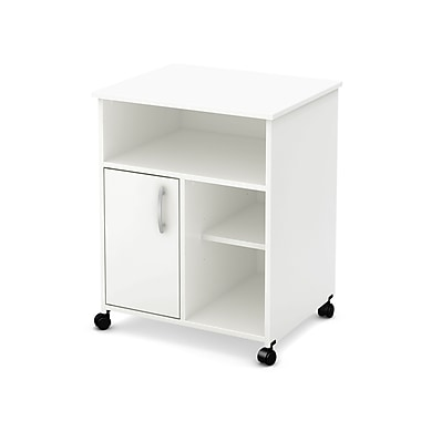 South Shore Axess Microwave Cart with Storage on Wheels, Pure White , 23.5'' (L) x 19.5'' (D) x 29.5'' (H)