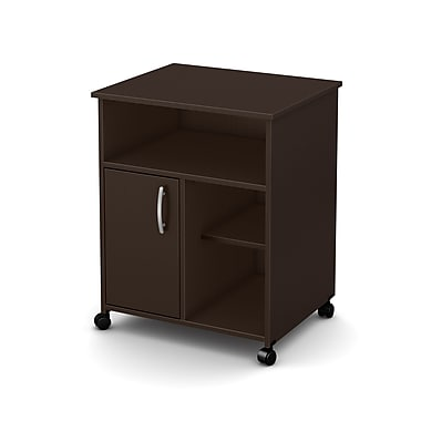 South Shore Axess Microwave Cart with Storage on Wheels, Chocolate , 23.5'' (L) x 19.5'' (D) x 29.5'' (H)