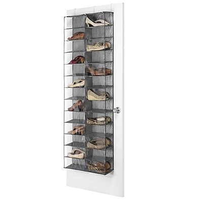 Whitmor 26 Pairs Capacity Over The Door Shoe Shelves, Gray