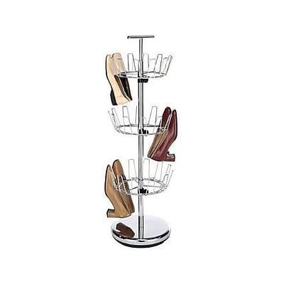 Whitmor 18 Pairs Capacity Revolvin Shoe Rack, Chrome