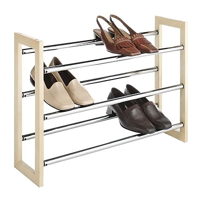 Whitmor 21 Pairs Capacity Stackable Expandable Shoe Rack, Silver