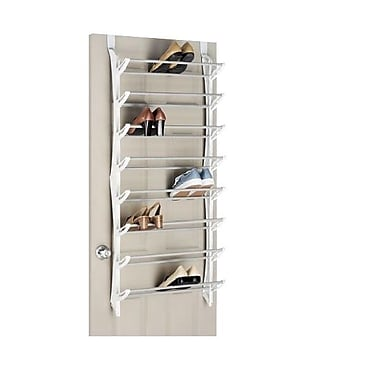 Whitmor 24 Pairs Capacity Over The Door Shoe Rack, White