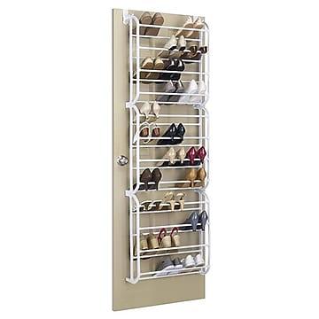 Whitmor 36 Pairs Capacity Over The Door Shoe Rack, White