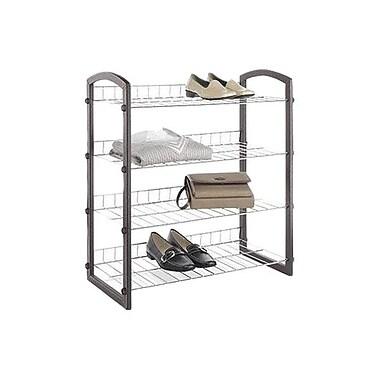 Whitmor Faux Leather 4-Tier Closet Shelves, Chrome