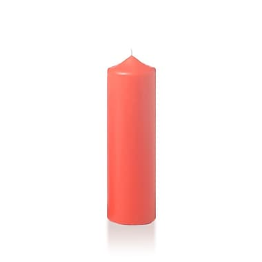 Yummi Slim Round Pillar Candles, Coral, 2.25