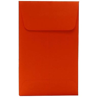 JAM Paper® #1 Coin Envelopes, 2.25 x 3.5, Brite Hue Orange Recycled, 100/Pack (352627815g)