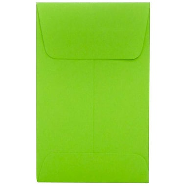 JAM Paper® #1 Coin Envelopes, 2.25 x 3.5, Brite Hue Ultra Lime Green, 100/Pack (352827826g)