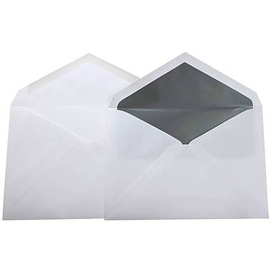 JAM Paper® Lined Wedding Envelope Set, 5.75 x 8, White with Silver Lined Envelopes, 100/Pack (526SE4020)