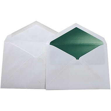 JAM Paper® Lined Wedding Envelope Set, 5.75 x 8, White with Sage Green Lined Envelopes, 100/Pack (526SE3381)