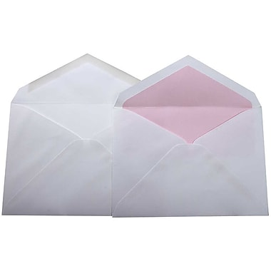JAM Paper® Lined Wedding Envelope Set, 5.75 x 8, White with Pink Petal Lined Envelopes, 100/Pack (526SE4695)