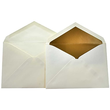 JAM Paper® Lined Wedding Envelope Set, 5.75 x 8, Ecru with Gold Lining, 100/Pack (526SE6071)