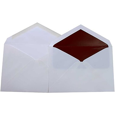 JAM Paper® Lined Wedding Envelope Set, 5.75 x 8, White with Burgundy Lined Envelopes, 50/Pack (526SE6074)