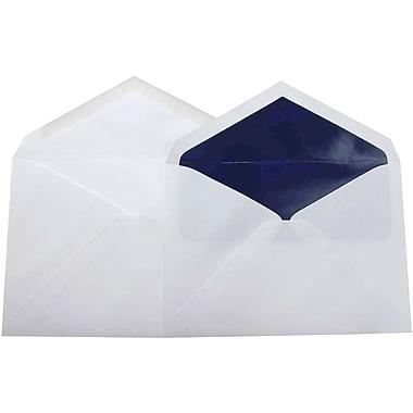 JamMD – Paquet d'enveloppes doublées format livret pour mariage, blanc doux et bleu marine, 5 3/4 x 8 po, 100/paq