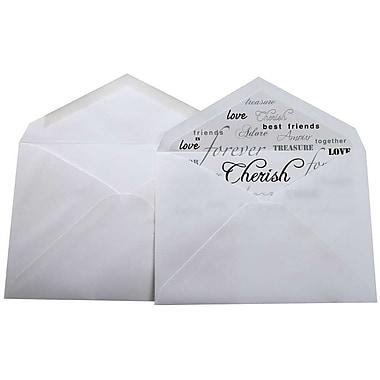 JAM Paper® Lined Wedding Envelope Set, 5.75 x 8, White with Honor Love Cherish Lining, 100/Pack (526SE9059)